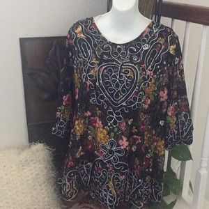 Simply Couture Floral Lace Embroidered Top XL